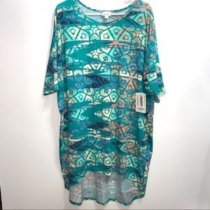 LuLaRoe Irma tunic Top sz XL  blue geometric 50B1